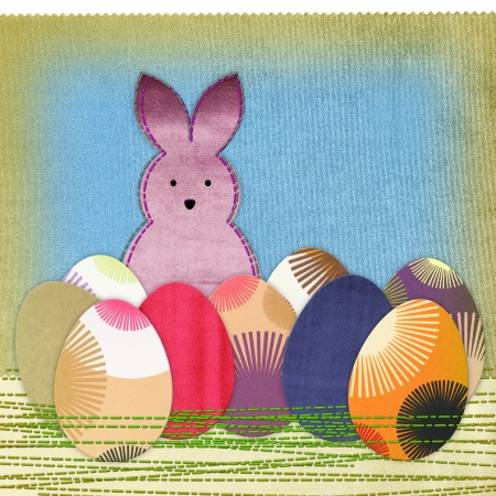 Easter bunny and colorful eggs photo