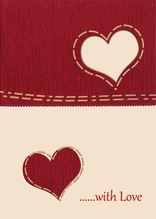 Heart shape on fabric card photo