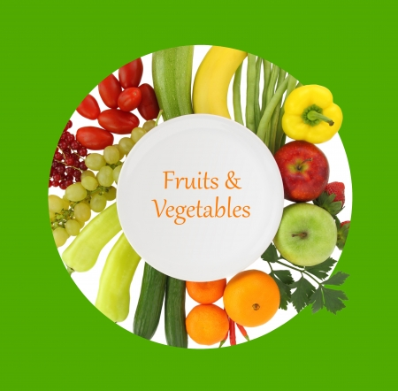 cookbook: Empty plate with fruits and vegetables around it Stock Photo