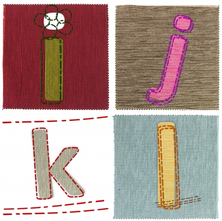 Textile letters collection Stock Photo