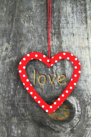 Heart ornament hanging on a tree photo