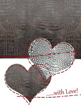 Love card of leather hearts photo