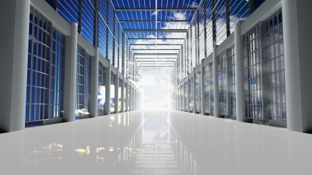 prison cell: Prison tunnel through the sky Stock Photo
