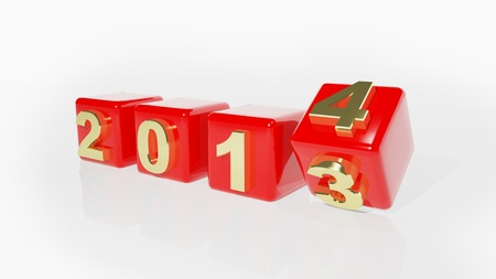 the turn of the year: New year 2014 3d cubes