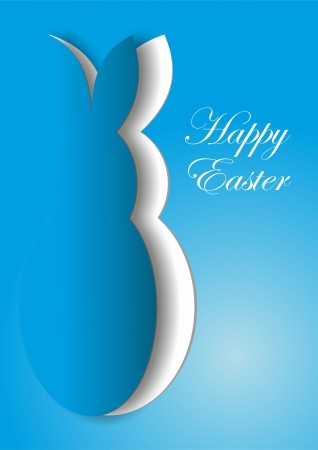 Blue paper Easter bunny card photo