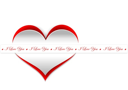 Curl paper heart, Valentines day card Stock Photo - 17109811