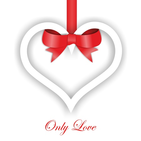 Paper Heart ornament on white background. Valentines day card photo