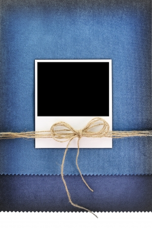frame on vintage blue background photo
