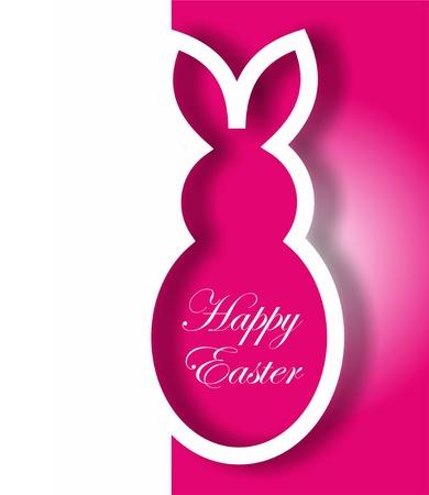 silhouette lapin: Papier rose de lapin de Pâques cartes
