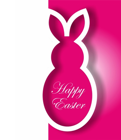 rabbit silhouette: Pink paper Easter bunny card
