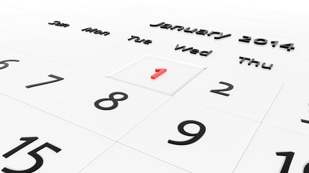 january 1st: Holiday Calendar. New year day Stock Photo
