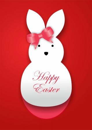 lapin silhouette: Curl de papier de lapin de Pâques cartes Banque d'images