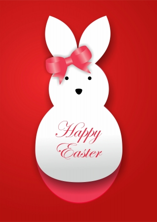 rabbit silhouette: Curl paper Easter bunny card Stock Photo