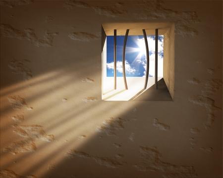 Prison Fenster. Freedom concept