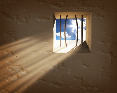 escape: Prison window. Freedom concept Stock Photo