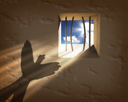 Freedom concept. Escaping from the prison photo