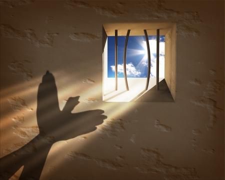 cellule de prison: Liberté concept. Échapper à la prison