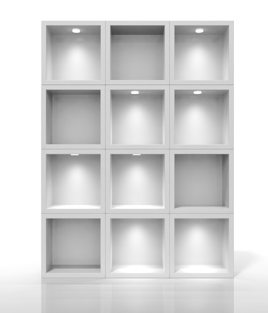 3d white shelves for exhibit photo
