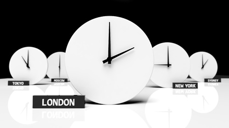 office time: Time zone clocks Stock Photo