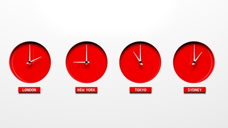 zone: Time zone clocks Stock Photo