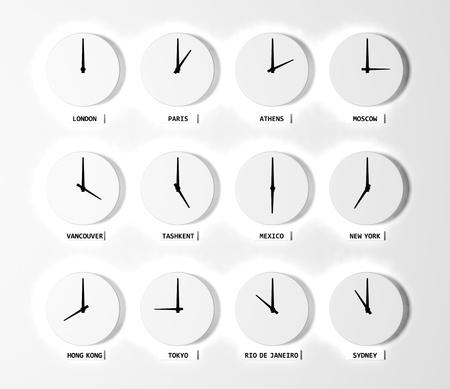 Time zone clocks Stock Photo