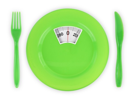 bathroom scale: Diet  recipe. Green plate with weight scale