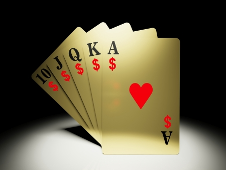 straight flush: A royal straight flush playing cards poker hand with money symbol