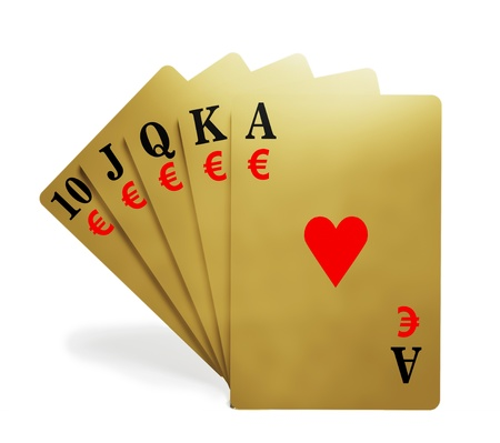 A royal straight flush playing cards poker hand with money symbol photo