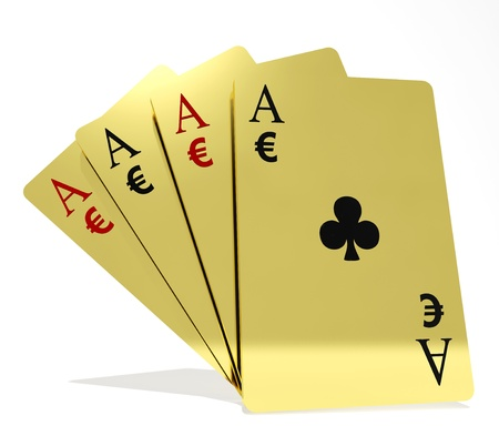Four aces playing cards suits with money symbols photo
