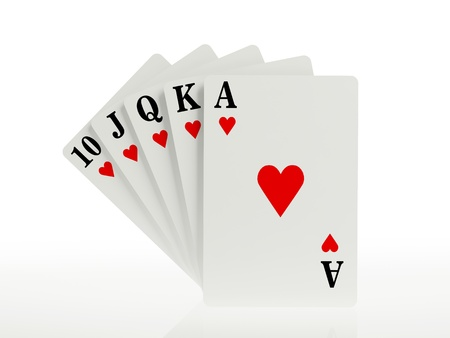 A royal straight flush playing cards poker hand  photo