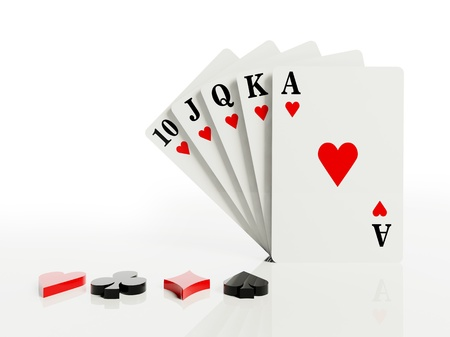 flush: A royal straight flush playing cards poker hand  Stock Photo
