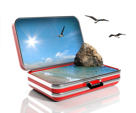 escape: Summer vacation concept. Travel suitcase with seascape inside