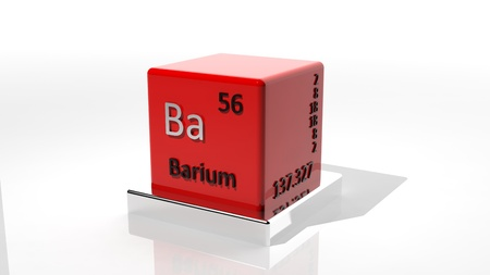 protons: Barium. 3d chemical element of the periodic table Stock Photo