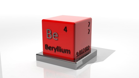 Berrylium. 3d chemical element of the periodic table photo