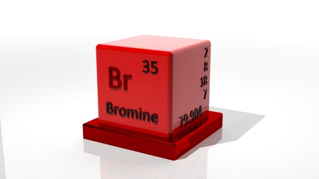 Bromine. 3d chemical element of the periodic table photo