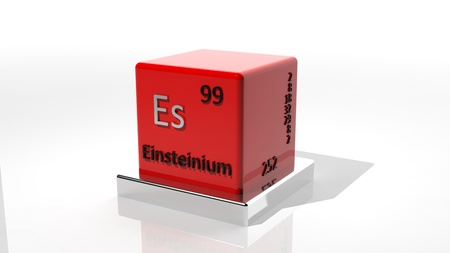 neutrons: Einsteinium, 3d chemical element of the periodic table Stock Photo