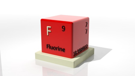 Fluorine, 3d chemical element of the periodic table photo