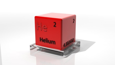 Helium,3d chemical element of the periodic table photo
