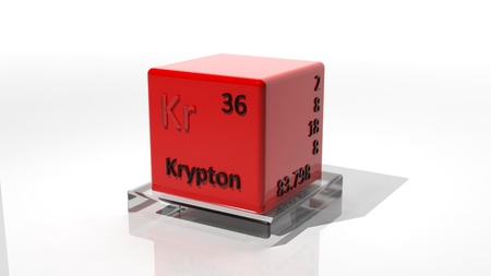 krypton: Krypton, 3d chemical element of the periodic  Stock Photo
