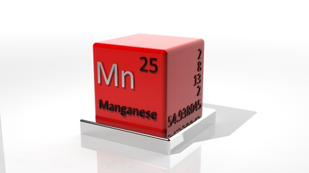 protons: Manganese, 3d chemical element of the periodic  Stock Photo