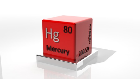 protons: Mercury,3d chemical element of the periodic  Stock Photo