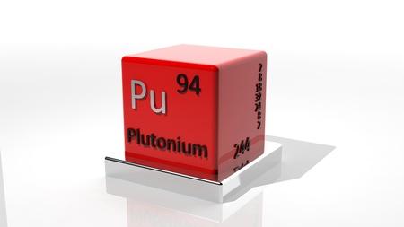 neutrons: El plutonio, un elemento qu�mico 3d del peri�dico Foto de archivo