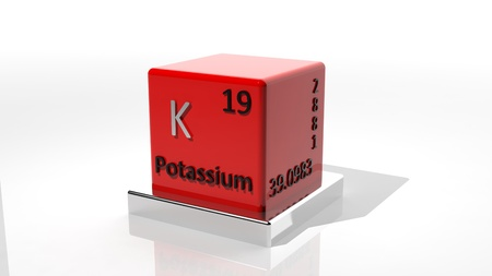 protons: Potassium,  3d chemical element of the periodic Stock Photo