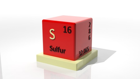 Sulfur, 3d chemical element of the pedic Stock Photo - 17550038