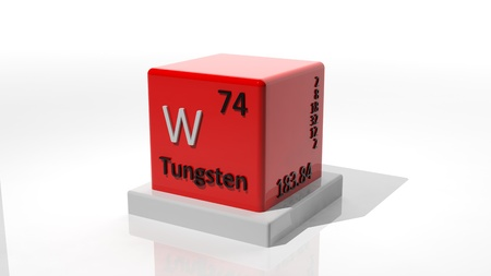 Tungsten, 3d chemical element of the periodic photo