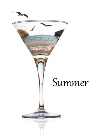 Summer beauty in a glass of cocktail photo