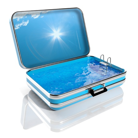 hotel pool: Summer vacation concept. Travel suitcase with Swimming pool inside