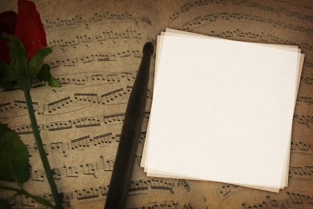 music book: Music notes on fabric texture background with copy-space