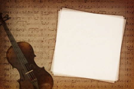 Music notes on fabric texture background with copy-space photo