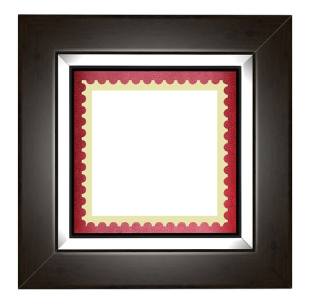 Blank post stamp in a wooden frame photo